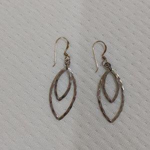 925 sterling silver hammered leaf earrings